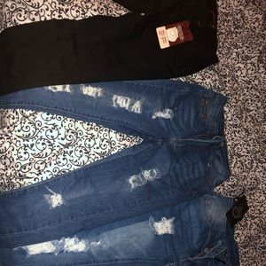 5 pair of jeans and 1 skirt